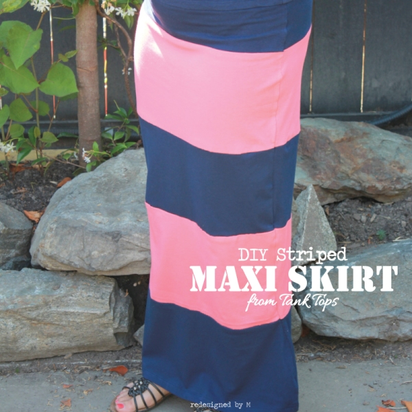 DIY Striped Maxi Skirt (from tank tops) | Redesigned By M
